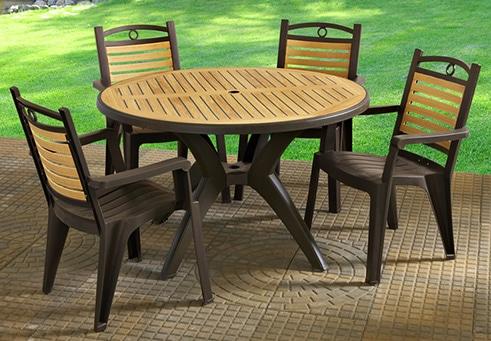 Plastový záhradný nábytok - drevo
